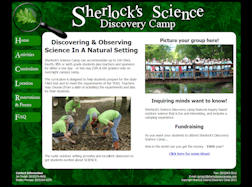 Sherlock's Science Discovery Camp Front Page