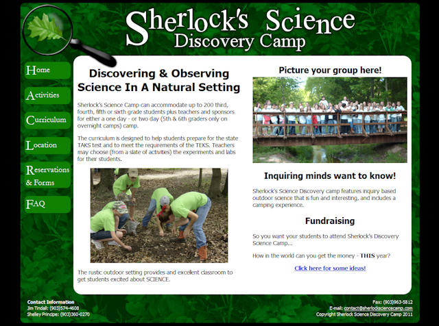 Sherlock's Science Discovery Camp Page